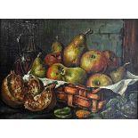 Küchenstillleben mit Birnen und FeigenÖl/Leinwand. Detailreich und glatt ausgeführtes
