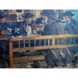 Rudolf Schramm-Zittau, 1874 Zittau - 1950 Ehrwald (Tirol)Öl/Leinwand. Stammtisch-Szene. Mit seinen