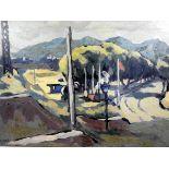 Julian Trevelyan, 1910 Surrey - 1988 ebenda Öl/Holz. Blick auf eine von Bäumen gesäumte Allee vor