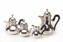 4-teiliges Kaffee- und Teeservice, Deutsch800er Silber, Kaffeekanne, Teekanne, Zuckerdose innen