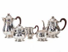 5-teilig. Kaffee-Teeservice, Frankreich um 1900950er Silber. Bestehend aus Kaffeekanne,