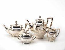 4-teilig. Kaffee-Teeservice, Friedländer, Berlin800er Silber, Zuckerdose und Sahnekännchen innen