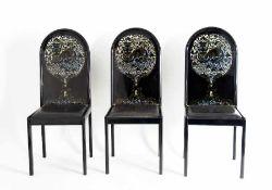 Björn Wiinblad1918 - 20063 Screen ChairsHolz, lackiert, Lederbezüge, Ausführung der 70er Jahre; H je