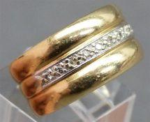 Damenring 14 kt. Gelbgold, besetzt mit 10 kl. Diamanten, ca. 10 g schwer, RM 55,