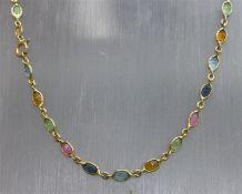 Halskette 925er Silber, vergoldet, verschieden farbige Glassteine, l 40 cm,