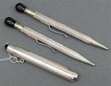 3 Bleistifthalter Silber, um 1900, graviert, l 7-9 cm,