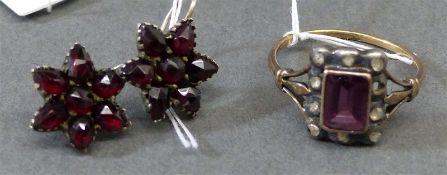 Konvolut, 19. Jh. Gelbgold und Silber, 1 Ring, Diamantrosen, 1 Stein fehlt, 1 Paar Ohrhänger,