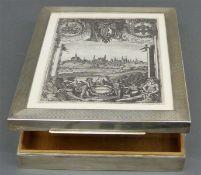Schatulle Silber, aufklappbar, mit Augsburger Thellottstich, Inneneinteilung, Holz, 25x20 cm,
