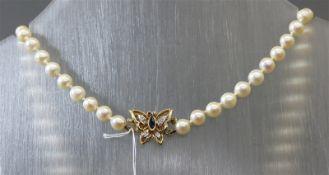 Halskette 14 kt. Gelbgoldschloss, kleiner Schmetterling, Diamantrosen und Saphirbesatz, ca. 63