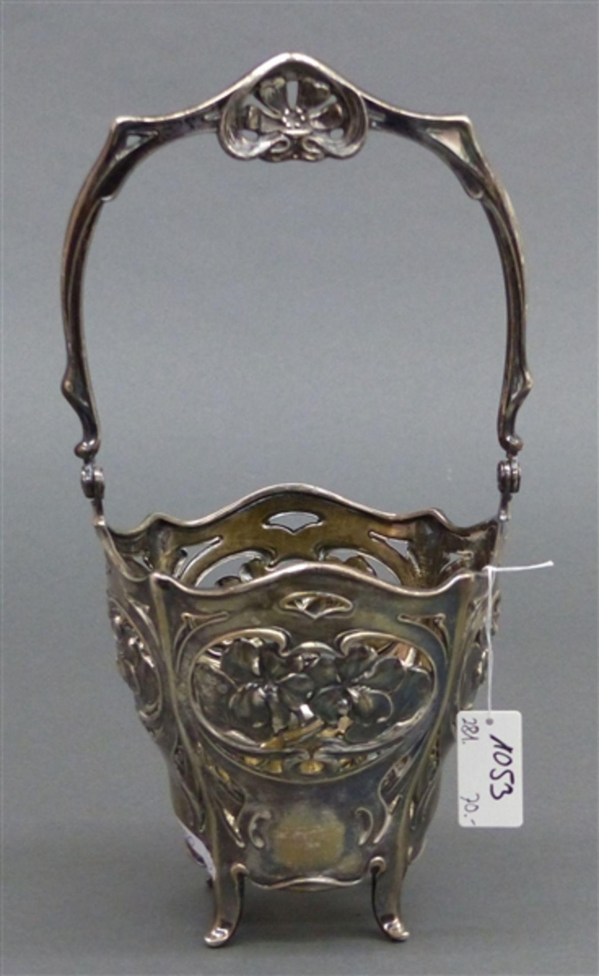 Henkelkörbchen floraler Dekor, durchbrochener Rand, Silber, Standfüßchen, punziert, h 24 cm, 191 g