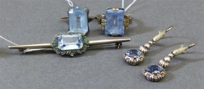 Schmuckset Silber, blaue Glassteine, 2 Ringe, 1 Brosche, 2 Ohrhänger, um 1950, ca. 18 g schwer,