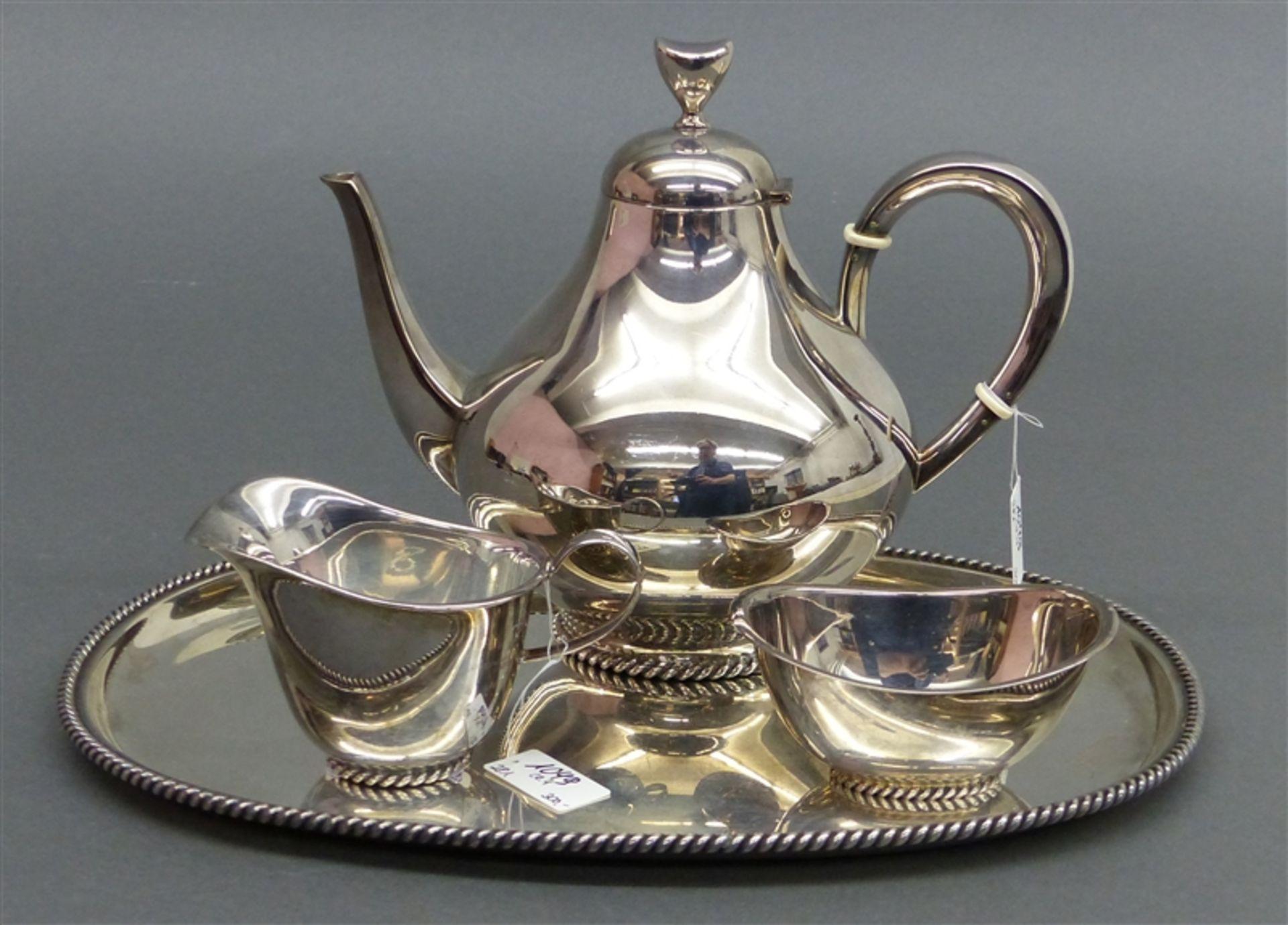 Kaffeeservice Silber, vierteilig Milchkännchen, Tablett, Perldekor, um 1950, punziert, Fa.