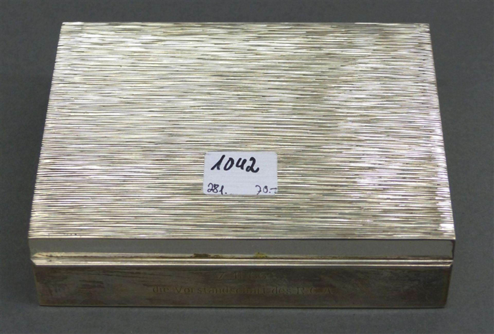 Schatulle Silber, punziert, Inneneinteilung, Holz, Rillendekor, graviert, 12,5x10 cm,