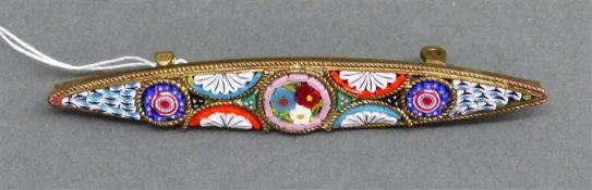 Brosche Metallfassung, Mosaikeinlagen, Blumen und Ornamentdekor, b 6 cm,