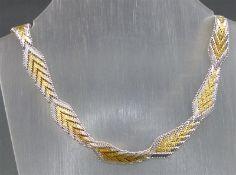 Collier 925 Silber, teilvergoldet, Karabinerverschluß, ca. 52 g schwer, l 46 cm,