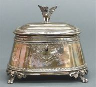 Zuckerdose Silber, England, 19. Jh., Klassizismus, Standfüßchen, punziert, abschließbar, Deckel