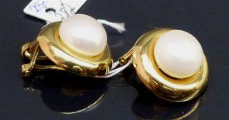 Paar Ohrclipse 14 kt. Gelbgold, 2 Perlen, d 8 mm, ca. 5 g schwer,