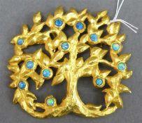 """Brosche18 kt. Gelbgold, """"Lebensbaum"""", besetzt mit 12 Opalen, graviert, durchbrochen gearbeitet,"""