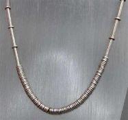 CollierSilber, Drehverschluss, Stab- und Plättchendekor, wohl Tiffany, ca. 77 g schwer, l ca. 67