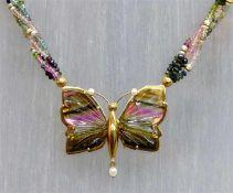 CollierAnhänger Schmetterling, 18 kt. Gelbgold Montur, verschieden farbige Turmaline als Flügel, 4-