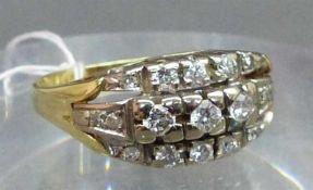 Damenring14 kt. Gelbgold, besetzt mit 17 Diamanten zus. ca. 0,50 ct., wesselton, Krampenfassung,