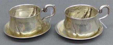 Paar Tassenmit Untertassen, Silber, punziert, um 1920, 127 g schwer,