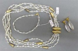 SchmuckgarniturBergkristall, 1 Collier, Silberschloss, 4-reihig, silberne Zwischenstücke, 1 Armband,