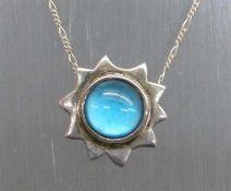 Anhängermit Kette, Silber, Sternform, blauer Glasstein, ca. 14 g schwer,