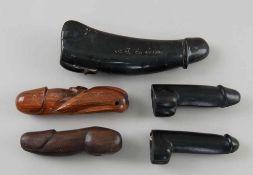 Konvolut Phalli, Holz geschnitzt und Stein, fein gearbeitet, fünf verschiedene Penisse, L11,5-20cm