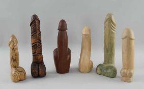 Konvolut Phalli, Holz geschnitzt, fein gearbeitet, sechs verschiedene Penisse, L 18-24cm