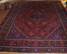 Teppich Sarough, 2,78 x 3,67 m, leichte Gebrauchsspuren, Flor etwas abgelaufen, Fransen geschnitten