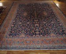 Teppich Keschan, 2,53 x 3,63 m, leicht aufgehellt an manchen Stellen und mit Gebrauchsspuren