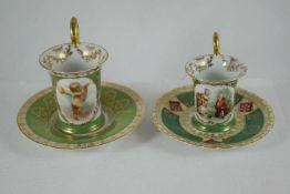 Ziertassen Ziertassen mit grünem Fond und Motivkartuschen, Höhe 8,5 cm und 7 cm, partiell berieben
