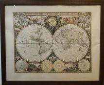Weltkarte und Karte von Belgien Druck, farbige Darstellungen mit dekorativen Kartuschen, unter