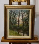 """Bachlauf an einem Wald"" Helmuth Liesegang (1858-1945), Höhe 35,4 cm x Breite 27,5 cm o.R., Bild"