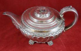 Teekanne, England Sterling Silber, London, Richard Pierce & George Burrows II., 1831, gepunzt, runde