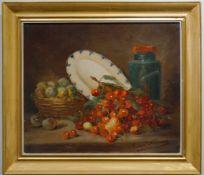 Stillleben mit Pflaumen und Kirschen Alfred Arthur Brunel Neuville (1852-1941), Öl auf Leinwand,