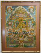 Thangka handgemalt auf Leinwand, mittig die Göttin Tara in einem von Bäumen umgebenen Palast,