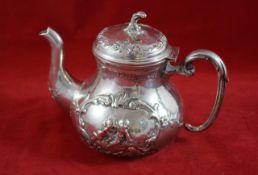 Silberkanne, Deutschland 835er Silber, Verziert mit der Darstellung zweier Putti und Rocaillen,
