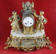 Pendule Paris, Ende des 19. Jhrds, mit figürlicher Darstellung zweier Fischer, Gehäuse vergoldeter