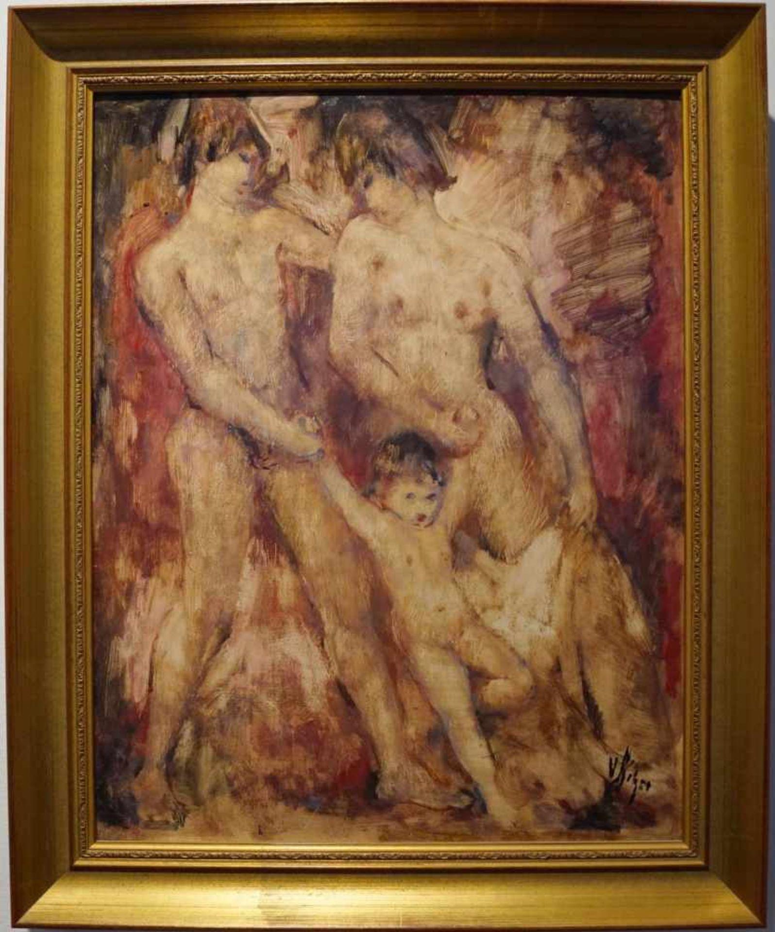 Paar mit Kind Werner Hitzer (1918-2005), Mischtechnik/Platte, Rahmen, Höhe 57,5 cm x Breite 47 cm,