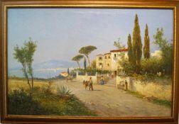 Südliche Küstenlandschaft Georg Fischhof (1849-1914), Öl auf Leinwand, gerahmt, Höhe 80 cm x