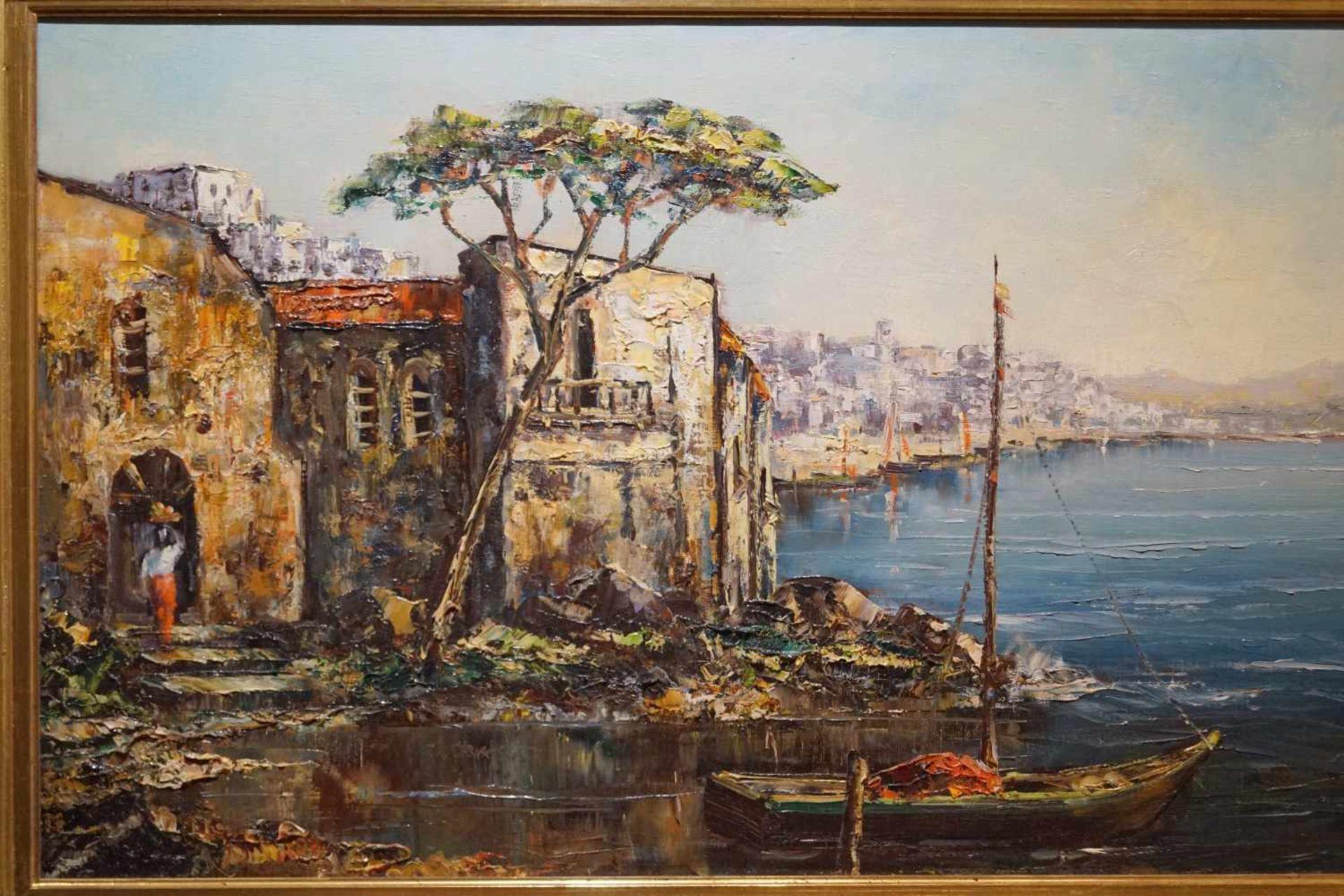 Italienische Küstenansicht Cav. Friedrich Karl Thauer (1924-2009), Öl auf Leinwand, signiert, - Bild 2 aus 3
