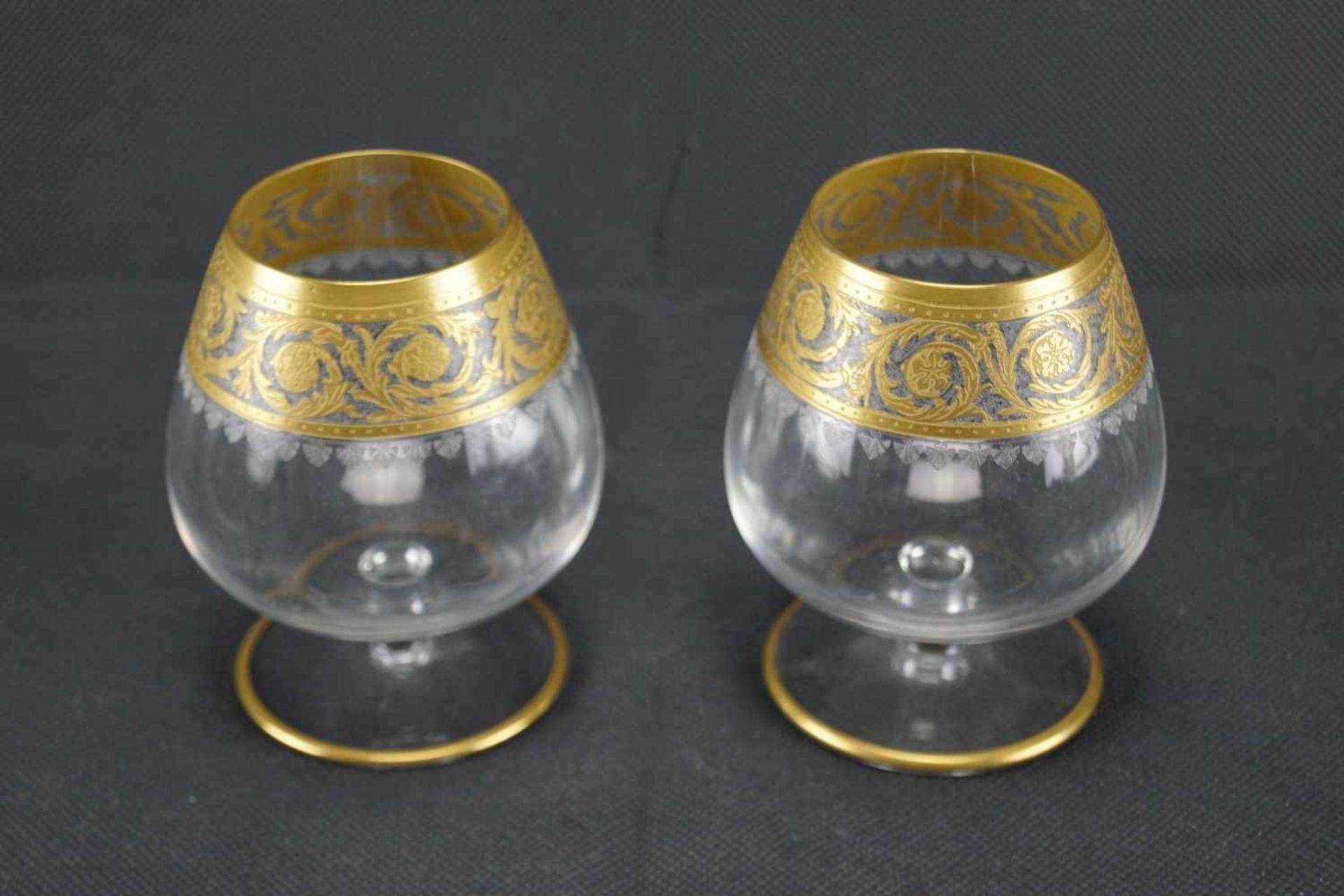 Zwei Tasting Gläser, Saint Louis Mit Ätzmarke versehen, Serie Thistle Gold, Höhe 10 cm, in einem