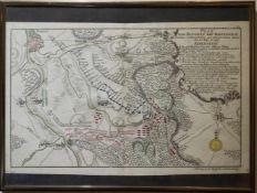 Schlachtplan der Schlacht von Hastenbeck 1757 Druckseite aus einem Buch, unter Glas gerahmt, ca. 19.