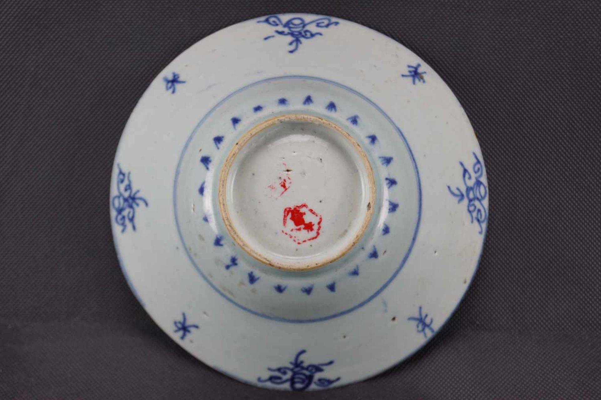 Schale, China Porzellan, seladonfarbener Fond mit blauer Unterglasurmalerei, Höhe 7 cm x Durchmesser - Bild 2 aus 2