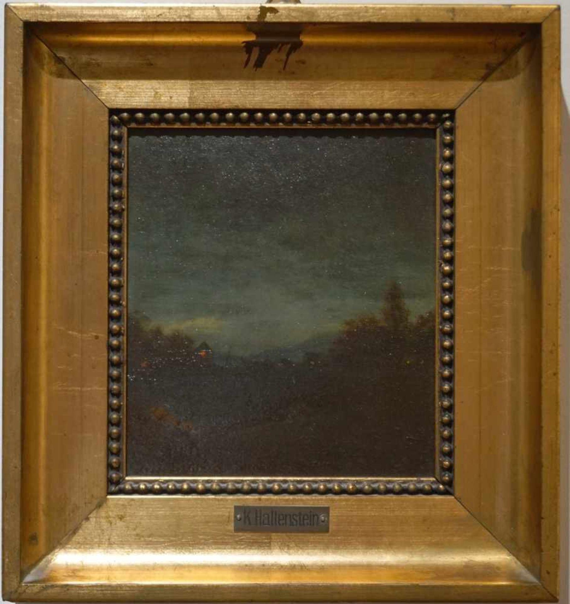 Zwei kleine Mondscheinlandschaften Konrad Hallenstein, Öl auf Karton, gerahmt, Höhe 21,5 cm x Breite - Bild 2 aus 6