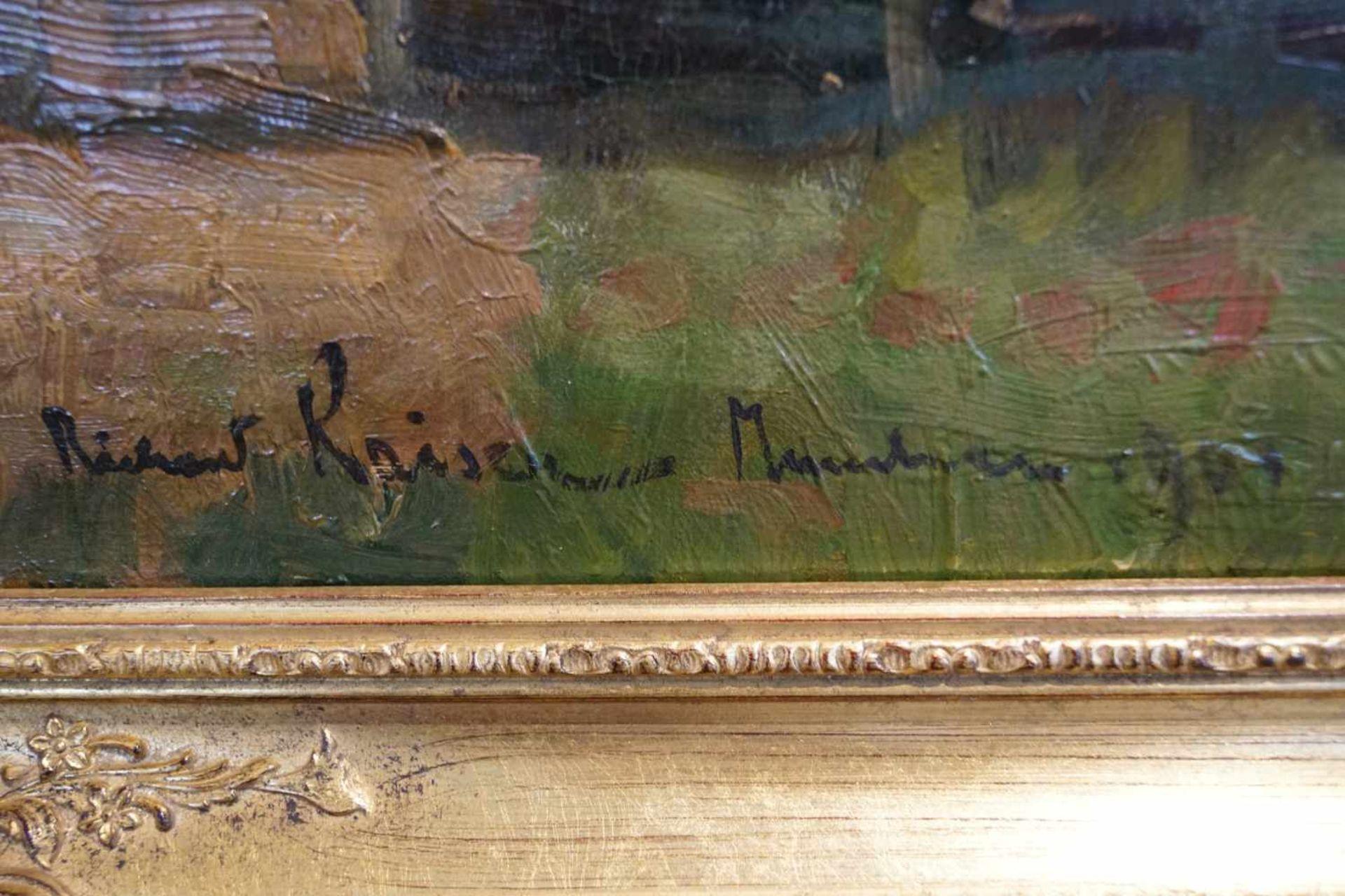 """""""Gutshof unter Kiefern"""" Richard Kaiser (1868-1941), Goldrahmen, Öl/Lwd, Höhe 75,8 cm x Breite 102, - Bild 2 aus 4"""