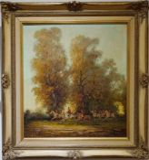 Parforcejagd Peter Otto Heim (1896-1966), Öl auf Leinwand, gerahmt, Höhe 66 cm x Breite 62 cm,
