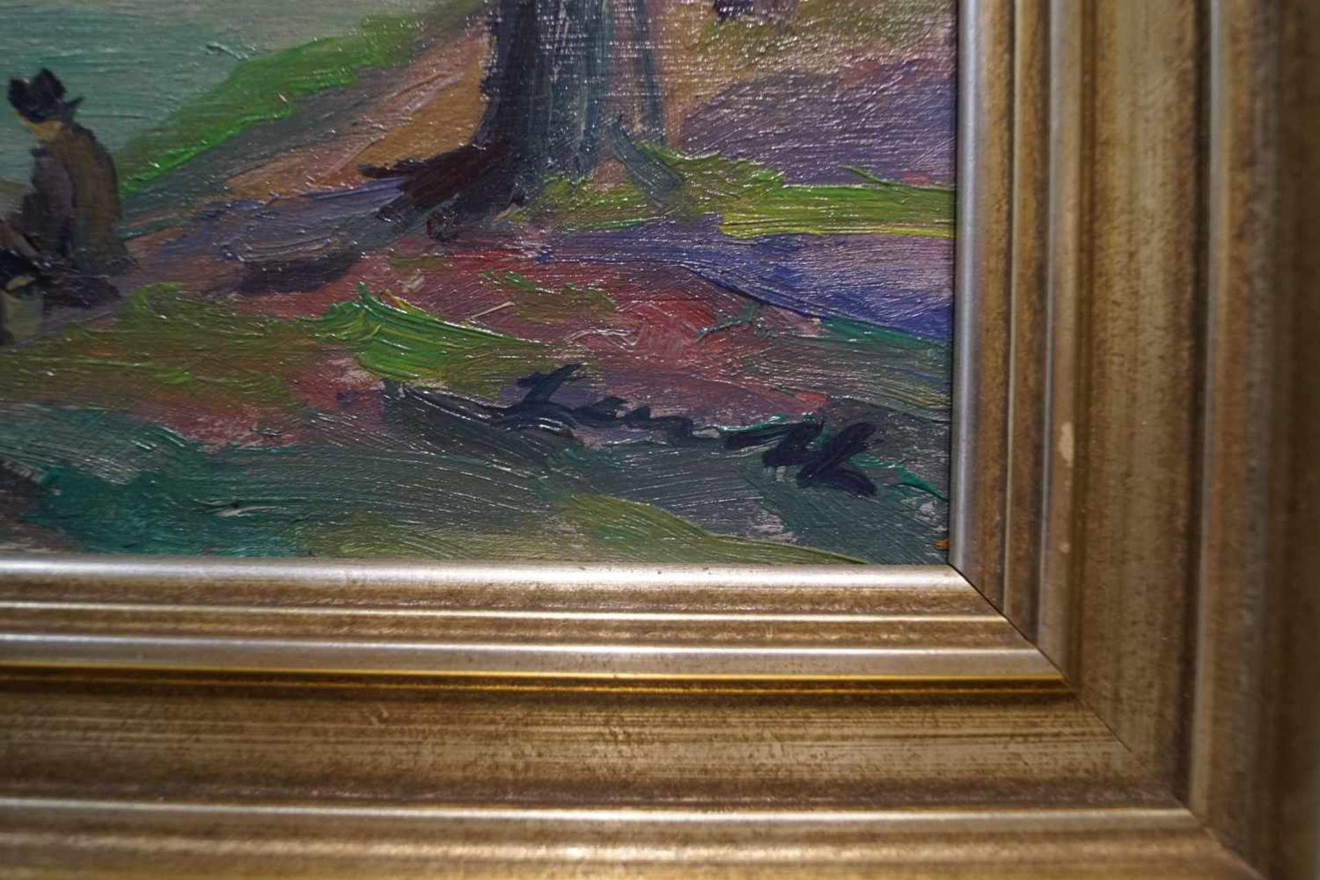 Angler am Altrhein Öl/Platte, Robert Lauth (1896-1985), Höhe 40 cm x Breite 49,5 cm, Bild in einem - Bild 2 aus 2